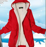2013 free shipping Autumn and winter medium-long Women wadded jacket outerwear hooded cotton-padded jacket women's