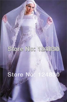 Free shipping New style High-quality Serious Satin Embroidery A-Line Chapel Train Muslim Wedding Dresses