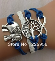 Free Shipping!12pcs/lot!Handwork Blue Color Leather Cord Elephant Tree Infiity Bracelet Trendy Girl Dance Costume Jewelry C-631