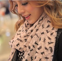 SUMMER PROMOTION High Quality Women's Long scarf PASHMINA SCARF WRAP SHAWL little cat print FREE SHIPPING