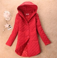 2013 hooded cotton-padded jacket cotton-padded jacket autumn and winter thick outerwear medium-long women's rhombus wadded
