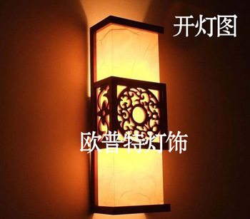 Modern chinese style antique wall lamp wooden sheepskin lamp bedside wall lamp entranceway lamps