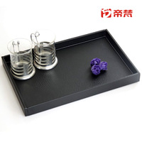 Black tea tray pallet tea set rectangular wood quality leather home  FREE SHIPPING
