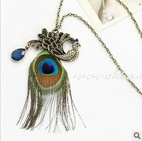 Free Shipping Newest Fashion Vintage Peacock Feather Rhinestone Pendant Necklace Fashion Jewelry  Women's Necklace Gift