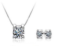 Free shipping 2013 new arrival fashion 925 silver jewelry set shiny zircon stud earrings 45cm necklaces 1set/lot