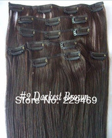 100%  Peruvian Remy Human Hair, 7pcs Darkest Brown Straight Clip On Hair Extensions