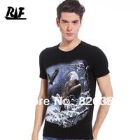 FREE SHIPPING 2013 3Dmen's clothing male slim T-shirt short-sleeve o-neck print t-shirt personality three-dimensional