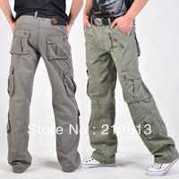 Free shipping plus size men's casual pants loose casual overalls cargo pants casual straight long sports pants for summer