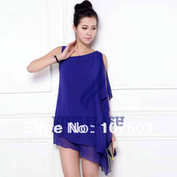 free shipping 3pcs/lot Elegant Women's Ladies Loose Sleeveless Dress Irregular Hem Chiffon Dress 2Colors 13127