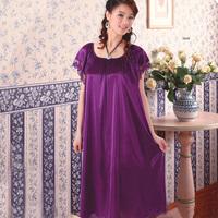 Hot Sales!Summer women's Ice silk sleepwear extra large sexy plus size xxxl short-sleeve nightgown Free Shipping WSP1658