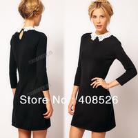 casual Sexy Slim Lady Woman Long sleeve Lace Collar Dress Black Mini Dress S M L Dropshipping 16888