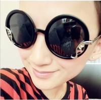 Big Circle Sunglasses Metal Vintage Fashion Women Sunglasses Large Glasses Drop Shipping 076