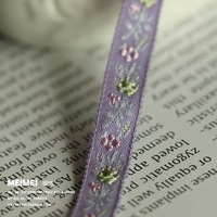 Zakka handmade accessories ribbon laciness 10mm purple embroidered cotton webbing