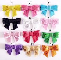 Free Shipping 20pcs/lot 12 colors sequin Bowknot Applique (no clips) DIY handmade accessory baby girl headbands accessory