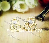 20pairs/Lot Free Shipping New fashion Hot Twist Flower Ear Stud Earrings Puncture 2 Colors 11127