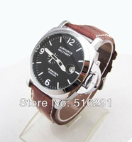 Free Shipping, 2014 New Airforce Military Style Mens Automatic Mechanical Wrist Watch,Brown Leather Strap,