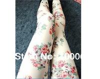 Hot Fashion Women Slim Sexy Cotton Ladies Rose Floral Pattern Leggings Pants New Wholesale Free Shipping # 2522810