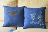 "Free Shipping 2 pcs/lot 18"" Birds & Flower Blue Retro Vintage Style Linen Decorative Pillow Case Pillow Cover Cushion Cover Set"