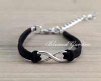 3pcs Infinity bracelet, love bracelet, black leather,infinity love, antique silver infinity,   1287 Mini order 10$