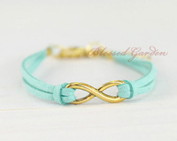 3pcs Infinity bracelet,mint bracelet, infinity love,gold infinity,mint leather, blessed   1299 Mini order 10$