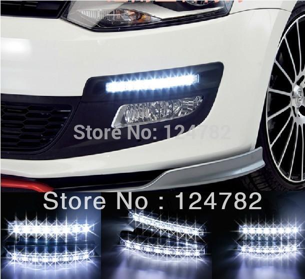 Free shipping New 2PCS Super White 8 LED Universal Car Light Daytime Running auto lamp DRL(China (Mainland))