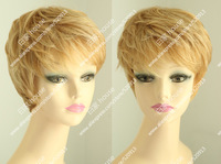 Free shipping  2013 new design-100% human hair wig, natural fashionable and romantic blonde short curls.