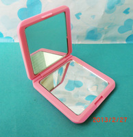 Make up mirror rubber mirror abs material  folding square  Small double faced  soft touch compact mirror,purse mirror,pocket