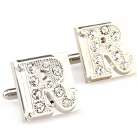 wooden cufflinks Fashion Square Crystal Letter R Cufflinks