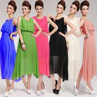 5005 # 2013 summer model stars put on a large cape long silk chiffon dress Bohemian