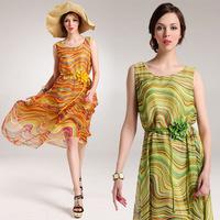 Factory direct wholesale women's summer chiffon waistband zebra color pattern vest dress 8095 #