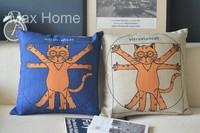 """Free Shipping 2 pcs/lot 18"""" Vitruvian Cat Vitruvian Man Vitruvius Linen Decorative Pillow Case Pillow Cover Cushion Cover Set"""