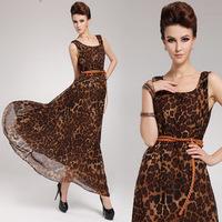 Europe 2013 summer new dress female leopard chiffon dress strap dress summer dress tide female