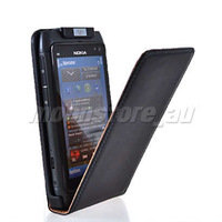 COW SKIN LEATHER FLIP POUCH CASE COVER +SCREEN PROTECTOR FOR NOKIA N8 BLACK