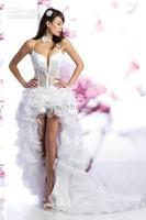Wholesale - White Organza Spaghetti Straps Short Front Long Back Wedding Dress High Low Bridal Gown