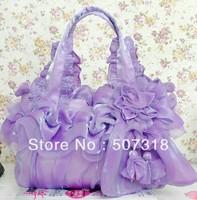 pretty purple Silk lady handbag shoulder bag wedding bag clutch purse tote