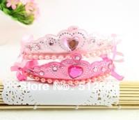 {Min.Order $15} 10pcs/Lot 2013 New Kids/Girl/Princess/Baby Crown Pearl Heart Stone Ribbon HeadBand/Hair Accessories