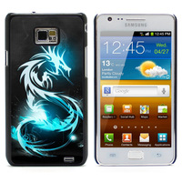 Blue Dragon Symbol  Aluminum Metal&Hard Plastic Back Case Cover For Samsung I9100 Galaxy S2 I9100/I9105 Plus (S2-65)