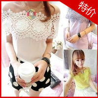 Sweet all-match 2013 slit neckline vintage daisy crotch cutout patchwork chiffon top