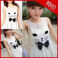 2013 women's slim waist cat bow sleeveless one-piece dress
