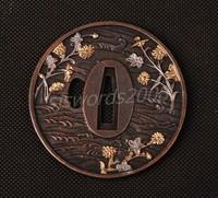 Japanese Sword Tsuba Alloy Spot Guard Plum Blossom Carved SJ011