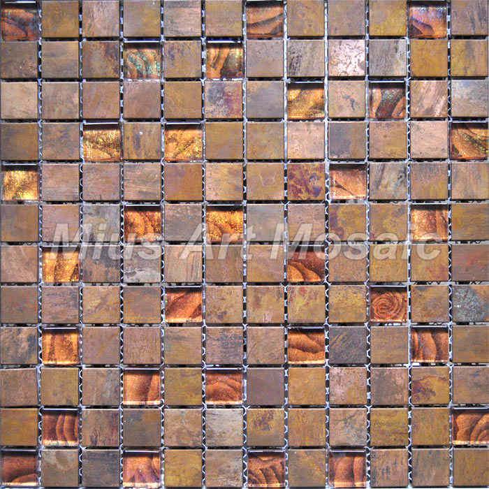 copper mosaic mixed gold foil glass tile for kitchen backsplash glass