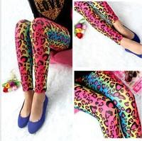 New type of leopard print women's leggings, high elastic, color leopard graffiti leggings