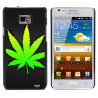 Weed Leaf Aluminum Metal&Hard Plastic Back Case Cover For Samsung I9100 Galaxy S2 I9100/I9105 Plus (S2-108)