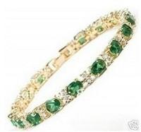 super beautiful gold filled green jade braclet Fashion jewelry