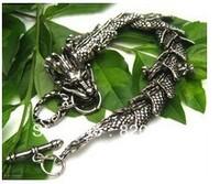 Wholesale Tibet tibetan miao silver hand carved dragon Head Men`s bracelet fashion jewelry