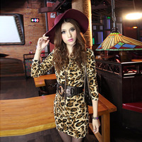 2013 female spring women's handbag basic shirt slim female o-neck leopard print one-piece dress 8320