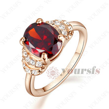 Wholesale 18K Gold Plated Wedding Rings Use Crystal Ruby Engagement Ring 0.3Ct Simulation of Diamond Ring R216R2 Free Shipping
