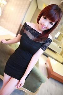 6085 summer ladies slit neckline sexy slim hip lace one-piece dress  Free shipping