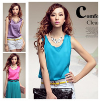 Free Shipping 2014 Summer european fashion loose silk satin spaghetti strap vest sleeveless shirt plus size XL candy neon color