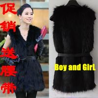 2013 fur coat fur vest medium-long short design vest spring autumn and winter